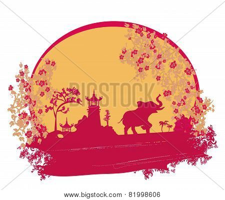 Abstract Card With Asian Buildings And Elephant