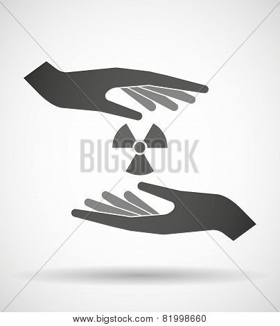 Hands Protecting Or Giving A Radioactivity Sign