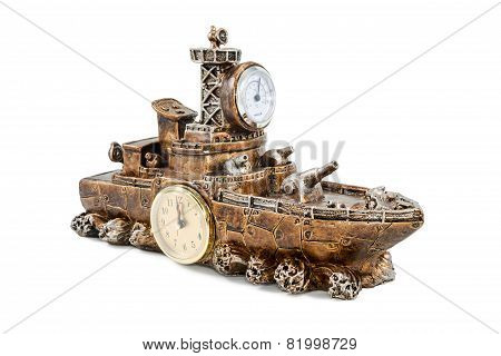 Ship With Clock And Thermometer