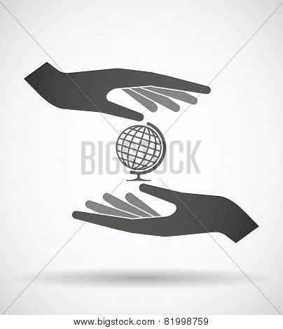 Hands Protecting Or Giving A Document