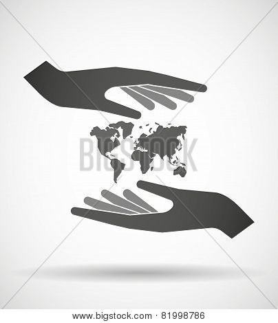 Hands Protecting Or Giving A World Map