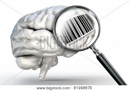Barcode On Magnifying Glass And Human Brain