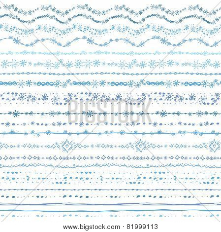Hand drawn seamless  line border set.Winter Doodle decor