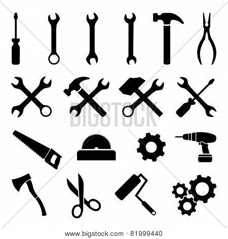 Set of black flat icons - tools, technology and work