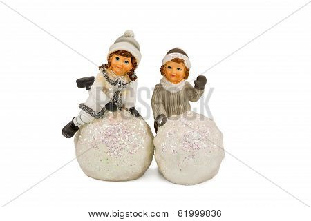 Statuette Of Children Playing In The Snow