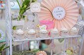 picture of sugarpaste  - Birthday party table setting with food and Cake  - JPG