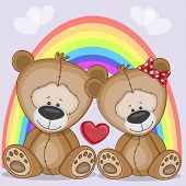 picture of baby bear  - Valentine card with Lovers Bears on a backgroun of rainbow - JPG