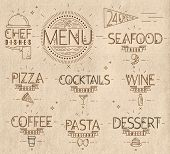 stock photo of cocktail menu  - Menu in vintage modern style lines drawn with symbols pizza - JPG