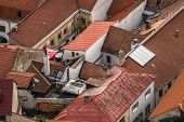 stock photo of red roof  - View of the old red roofs in Slovakia in Trencin in the north - JPG
