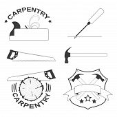 pic of carpentry  - vector set of carpentry tools and logos - JPG