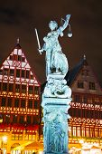 stock photo of frankfurt am main  - Lady Justice sculpture at the Old town in Frankfurt am Maine Germany - JPG