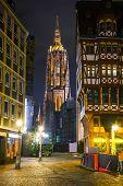 stock photo of frankfurt am main  - Frankfurt Cathedral in Frankfurt am Main at night - JPG