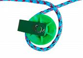 foto of pulley  - the two green Pulleys on white background - JPG