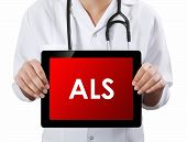 stock photo of backround  - Doctor showing tablet with text - JPG