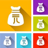 pic of yuan  - illustration of flat design set icons for yuan bag - JPG