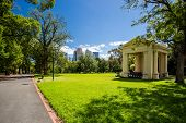 foto of cbd  - Fitzroy Gardens near Melbourne CBD on a hot summer - JPG