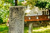 foto of headstones  - Gravestone made of headstone with Maltese cross craved in - JPG