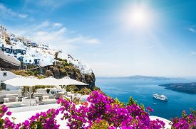 picture of greek-island  - White architecture on Santorini island Greece - JPG