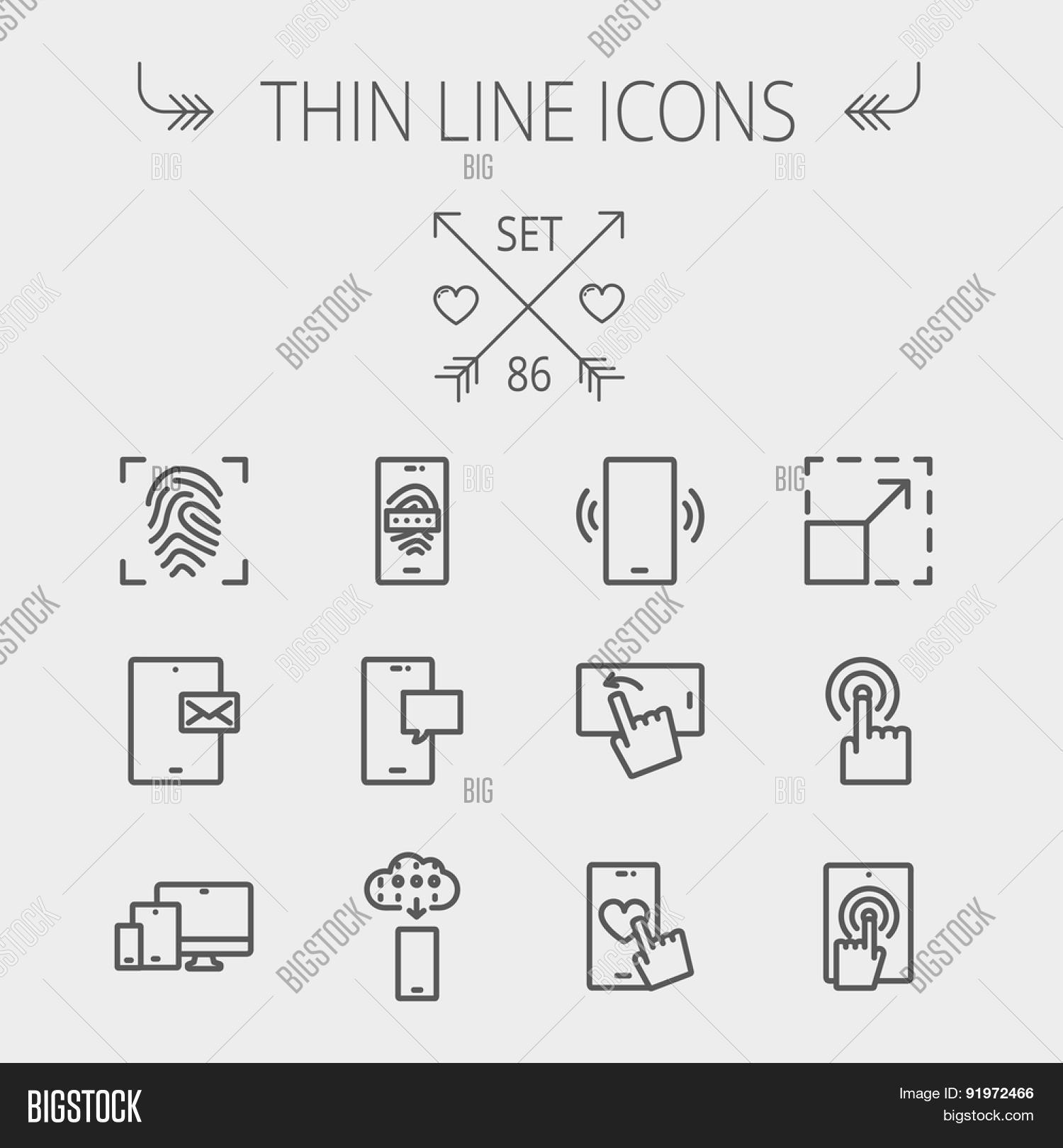 Wireless icon line iconset iconsmind - Technology Thin Line Icon Set For Web And Mobile Set Includes Mobiles Icons