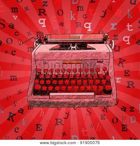 Red Hand Drawn Typewriter Seamless Design