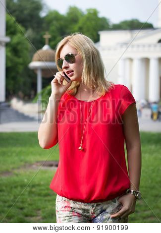 Attractive Woman Calls By Telephone