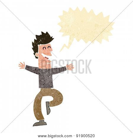 cartoon laughing man with speech bubble