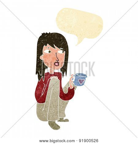 cartoon woman sitting with cup of coffee with speech bubble