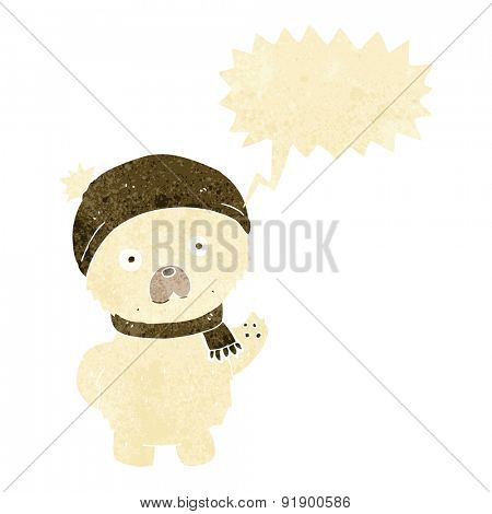 cartoon cute polar bear in winter hat and scarf with speech bubble