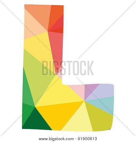 L wrapping surface vector letter isolated on white background