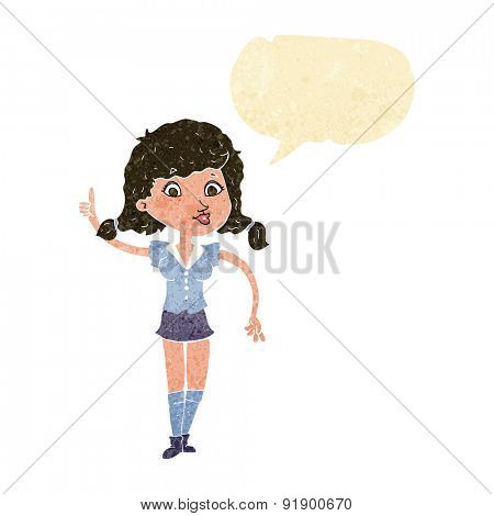 cartoon pretty woman with idea with speech bubble