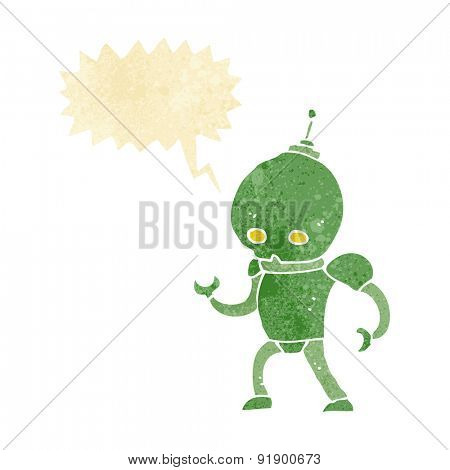 cartoon alien robot with speech bubble