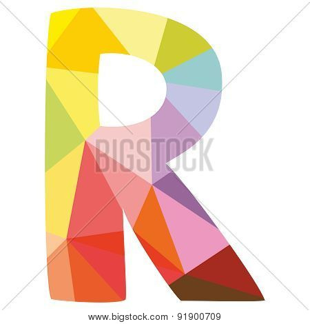 R wrapping surface vector letter isolated on white background