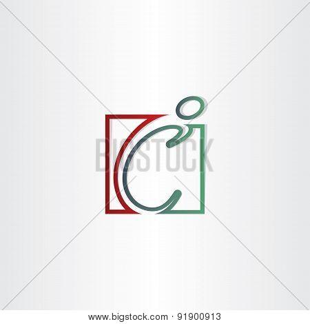Letter C Man Line Icon