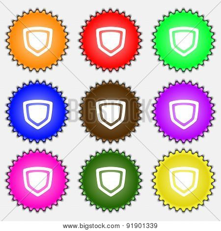 Shield  Icon Sign. A Set Of Nine Different Colored Labels. Vector
