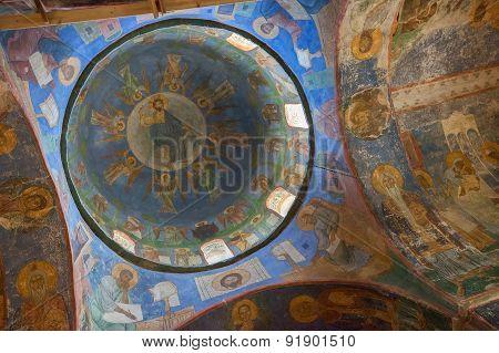 Frescoes in church the of Monastery Mirozhsky, Pskov