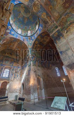 The interior of the church the of Monastery Mirozhsky, Pskov