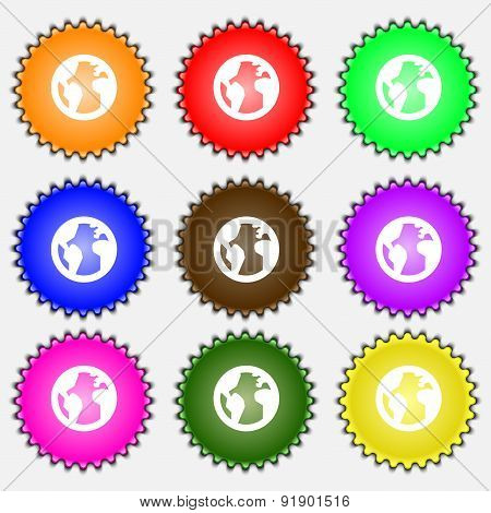 Globe, World Map Geography  Icon Sign. A Set Of Nine Different Colored Labels. Vector