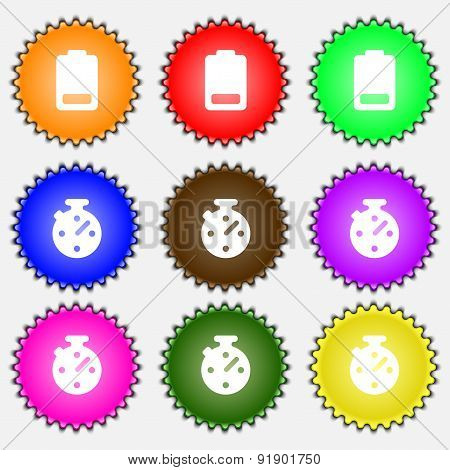 Battery Low Level, Electricity  Icon Sign. A Set Of Nine Different Colored Labels. Vector
