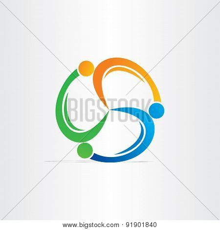 People In Circle Teamwork Symbol