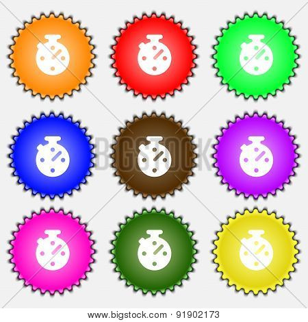Bookmark  Icon Sign. A Set Of Nine Different Colored Labels. Vector