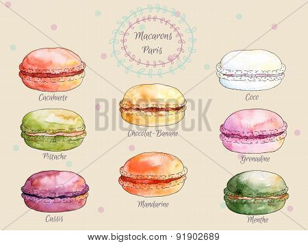 Set of watercolor different taste french macaroons,collection of variation colorful french macarons
