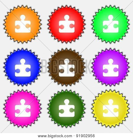 Puzzle Piece  Icon Sign. A Set Of Nine Different Colored Labels. Vector