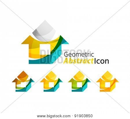 Set of abstract geometric company logo home, house, building. Vector illustration of universal shape concept made of various wave overlapping elements