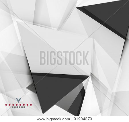 Triangular modern abstract background. 3d geometric shapes on grey