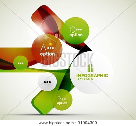 Modern business infographics. Shiny abstract geometric forms