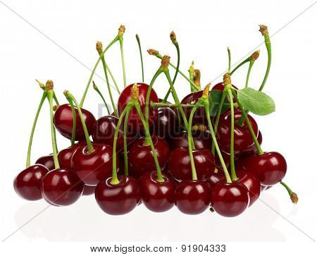 Sweet ripe cherries isolated on a white background