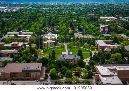 View Of University Of Montana From Mount Sentinel, In Missoula, Montana.