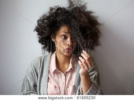Cute African American Girl With Afro Hairstyle