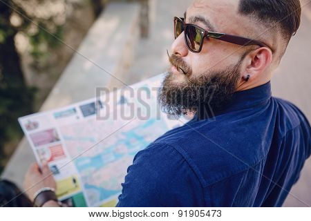 Bearded Man Travels With Map
