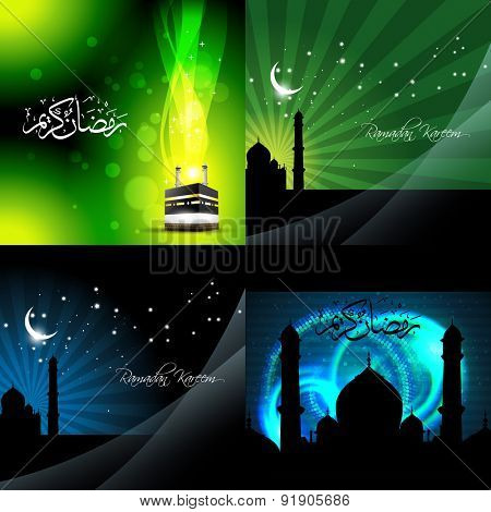 vector set of beautiful background of ramadan kareem background with qaaba sharif and mosque illustration